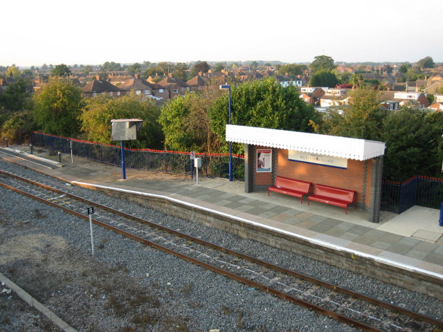 View from footbridge at Bicester North station looking north