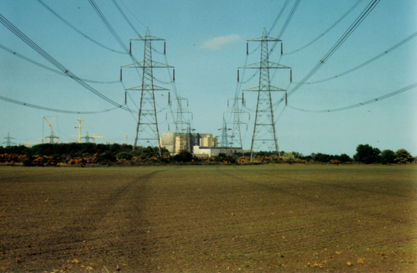 Power lines emerging from Sizewell nuclear power station, Suffolk