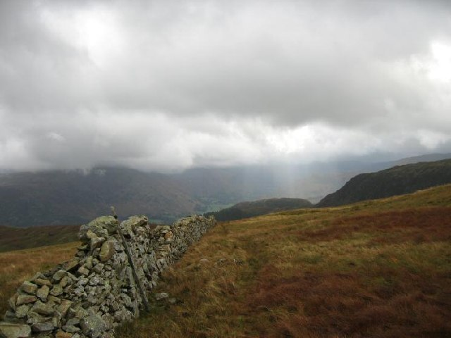 The wall up to Birkett Fell