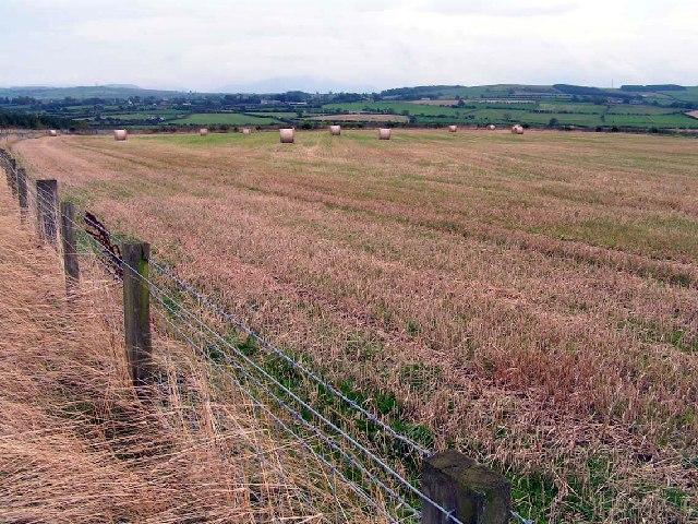 A view across open fields below Oughterside