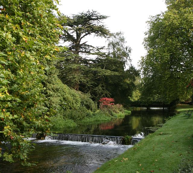 Weir on River Itchen at Brambridge House