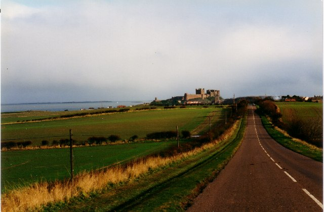 The B1342 looking towards Bamburgh Castle