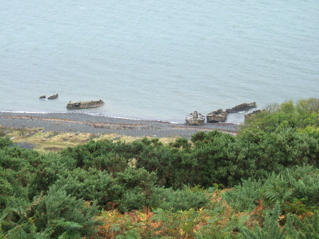 Concrete barges on the shores of Lochryan, North of Cairnryan village.