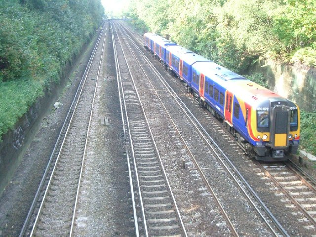 Railway cutting at Weybridge