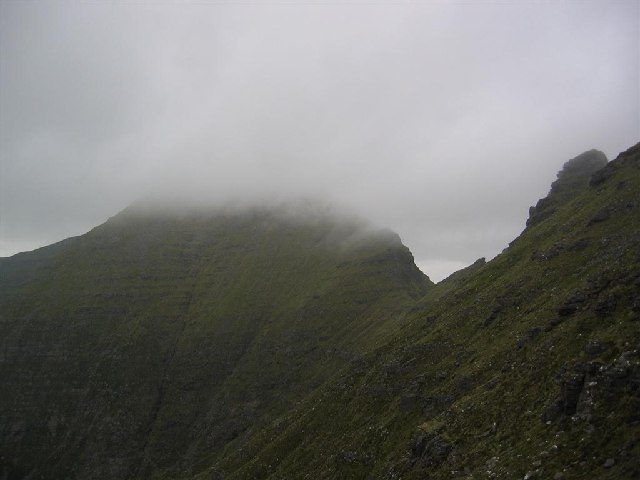 Sgurr Mhor in Mist, from below Na Rathanan