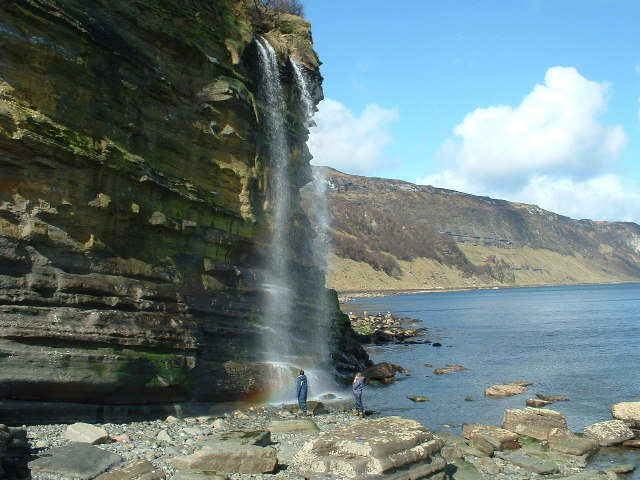 The spectacular waterfall at Hallaig on the East coast of Raasay.