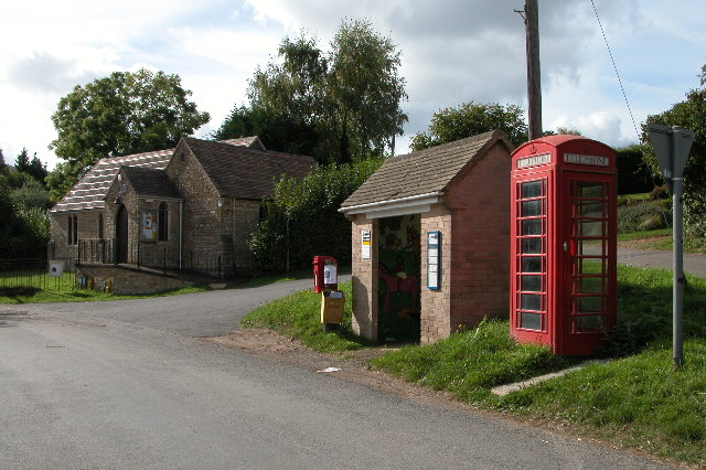 Bus stop and telephone box in the village of Clifford's Mesne