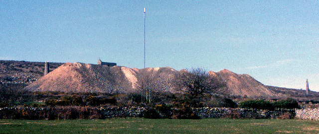 Copper mining spoil heaps. South Caradon Mine, 1978
