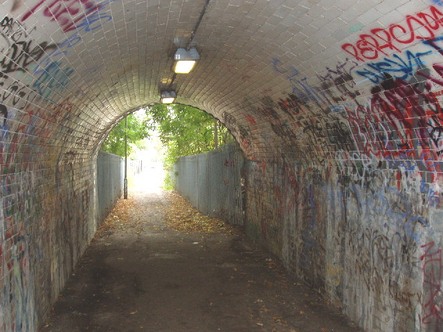 Railway bridge over footpath, from The Hyde to Hendon