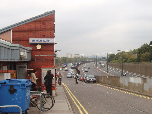 Hendon Station and the M1 Motorway