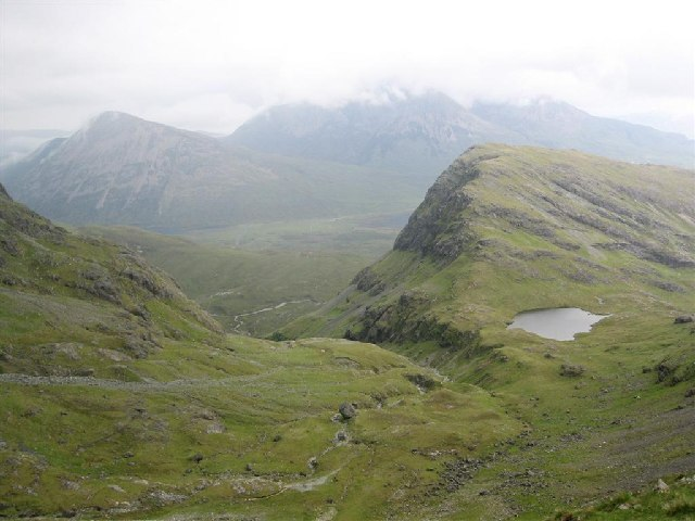 "The ""grassy alp"" below the southern face of Bla Bheinn"