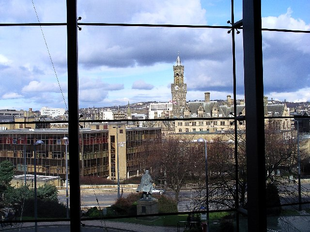 Bradford city centre from inside the National Museum of Photography, Film and Television