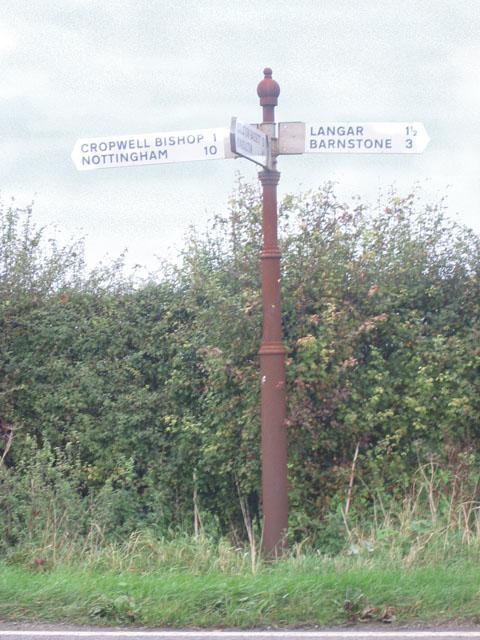 Signpost on Langar Lane