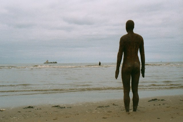 Crosby beach - with sculpture and vessel