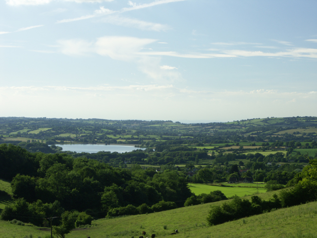 Mendip hills looking NNW towards Chew Valley Lake