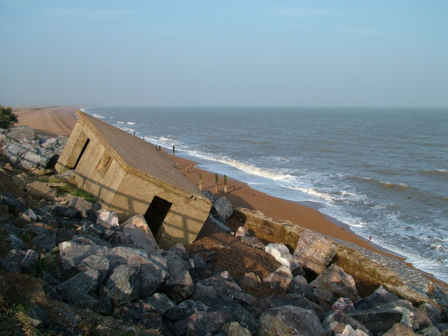 Pillbox falling down the eroded cliffs near Bawdsey