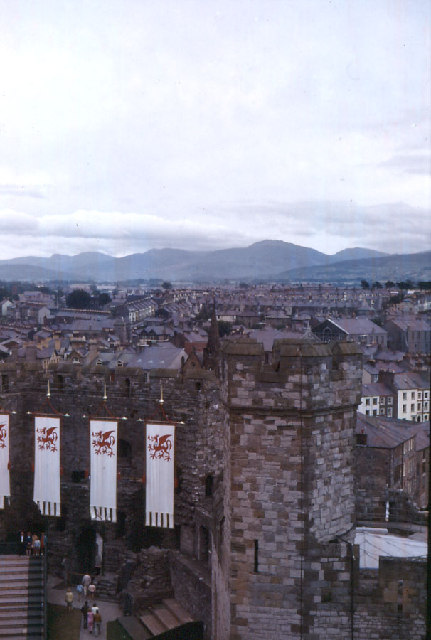 Snowdonia from Caernarfon Castle