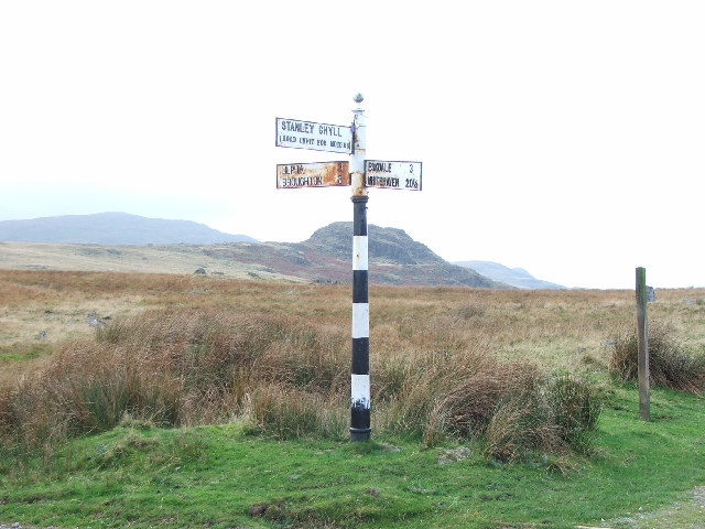 Signpost on the Ulpha to Eskdale Green road.