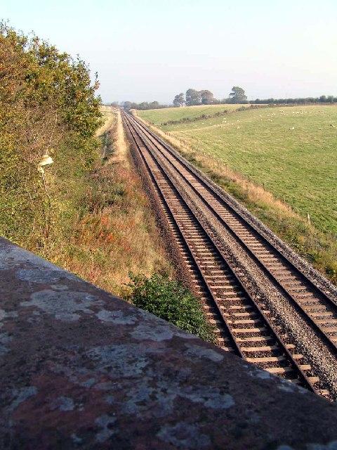 The Cumbrian Coast Line as it runs across the Soilway Plain east of Aspatria