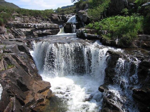 Waterfall in Lower Gleinn Bianasdail above Loch Maree