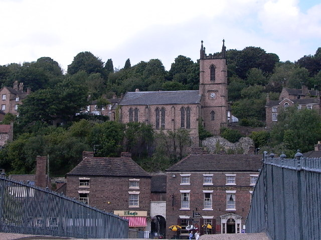 The town of Ironbridge seen from the eponymous bridge