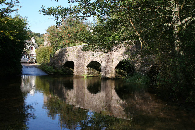Brompton Regis: ford and packhorse bridge at Bury