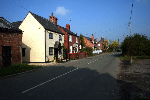 Houses along the main road in Shocklach