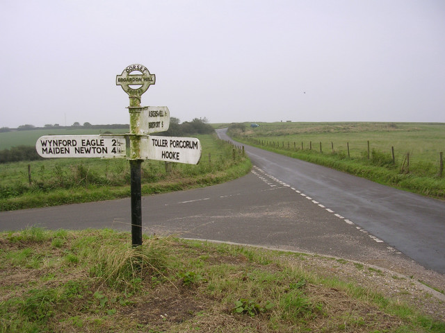 Road junction and signpost on Eggardon Hill