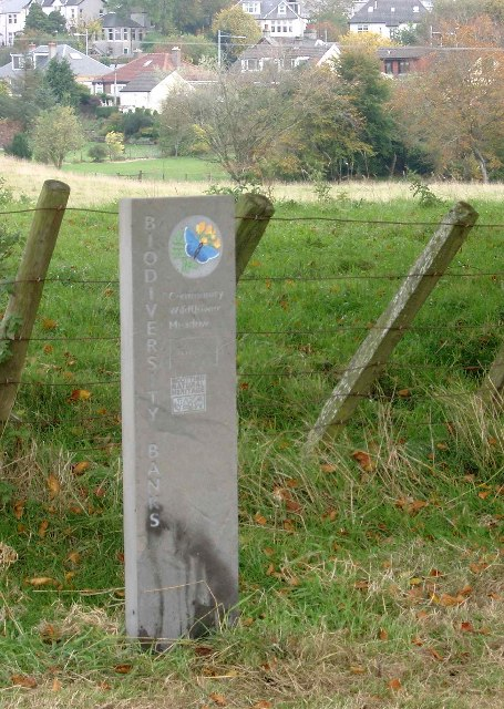 Biodiversity Bank marker in Strathaven Park