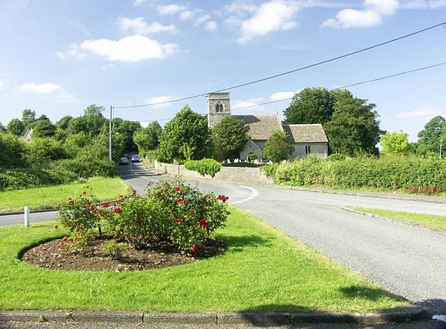 ST688751 Siston Lane looking N past Parish Church