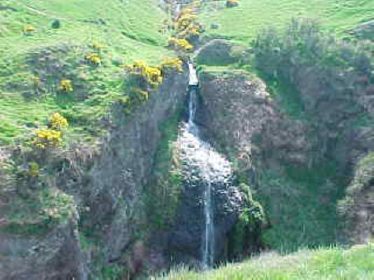 Waterfall to South of the path leading to Dunnottar Castle