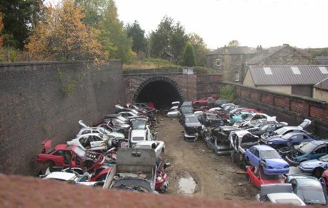 Scrapyard on disused railway, Dewsbury