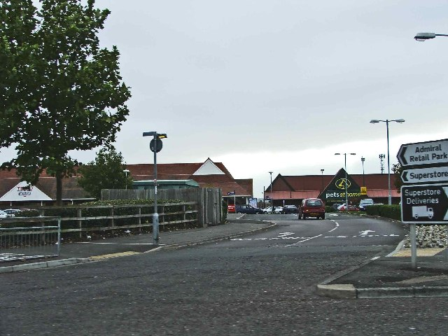 Entrance to Admiral Retail Park, Eastbourne, Sussex