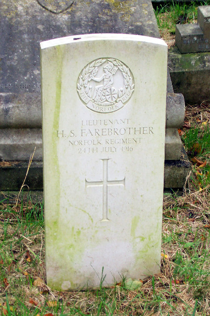 Gravestone - Lieutenant H.S.Farebrother