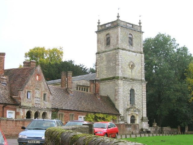 Wimborne St. Giles church and alms houses