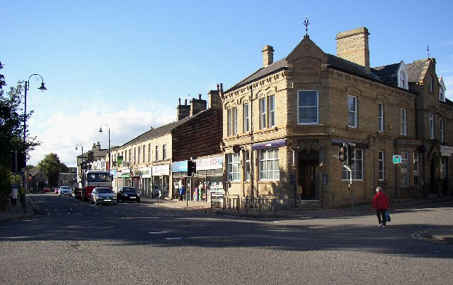 Shops in town centre, Huddersfield Road, Mirfield