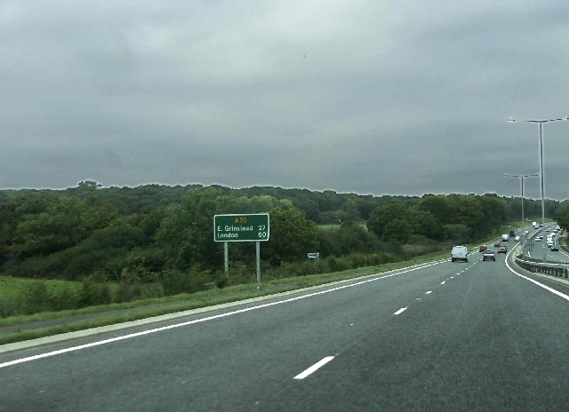 A22 northbound towards East Grinstead