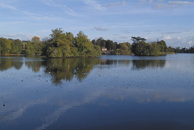View east across Eastwell Park Lake