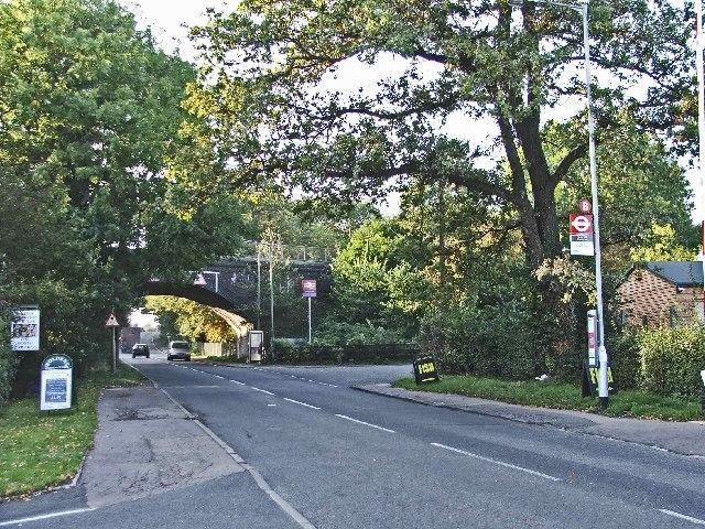Crews Hill, Enfield, looking west towards the railway bridge