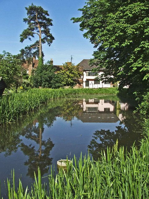 Mill Pond and back of house, Sue Ryder House, Cavendish, Suffolk