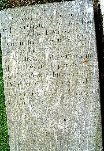 Old Dubrach's grave in Braemar cemetery