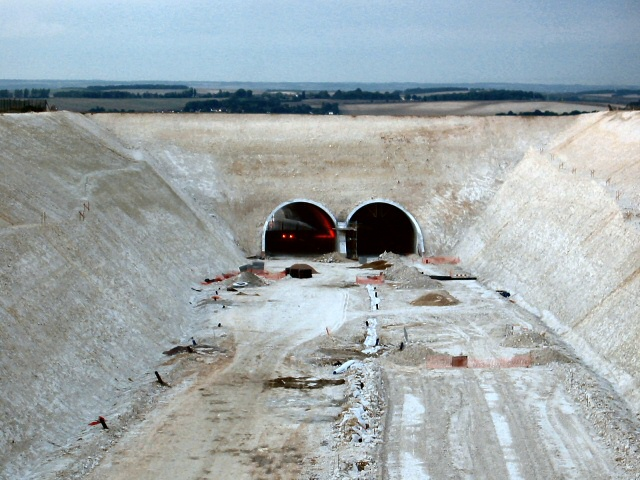 Baldock bypass tunnel in the chalk hills of Weston