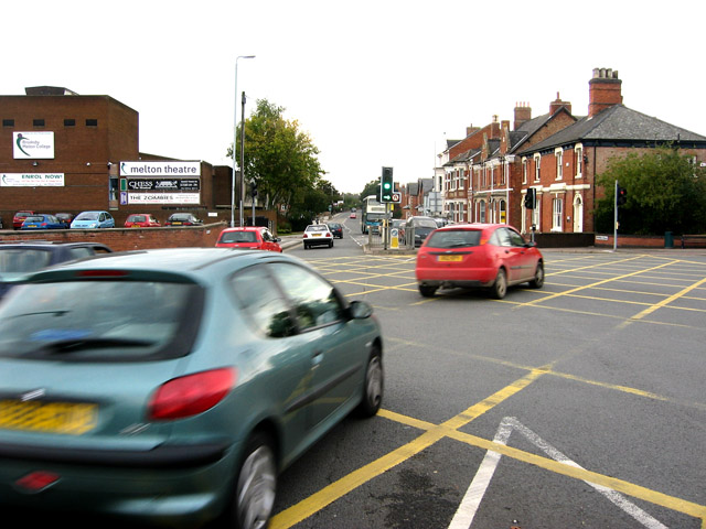 Busy road junction in Melton