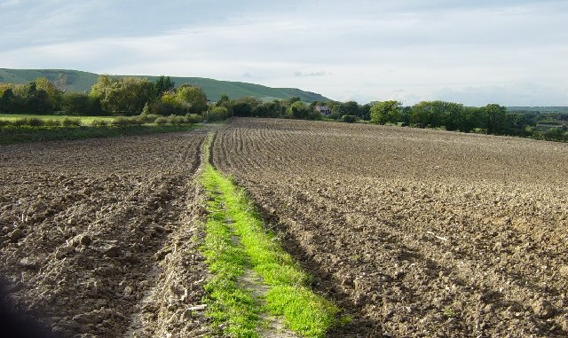 Public Footpath across a recently ploughed field
