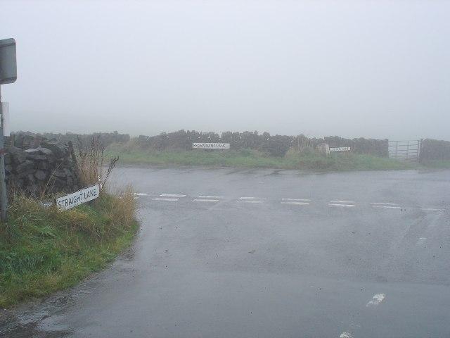 Misty crossroads on Nudge Hill