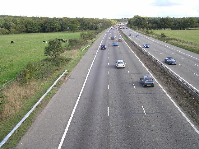 M3 eastbound between junction 6 (Basingstoke) and junction 5 (Hook)