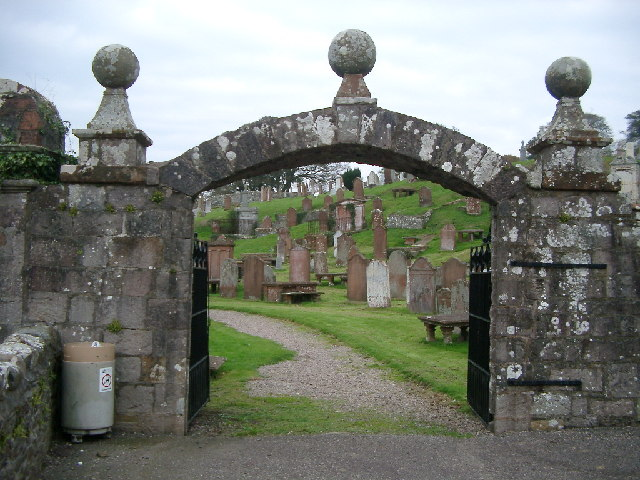 Cemetery Gates and stones, Kirkcudbright