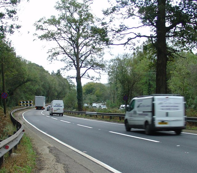 Sharp Righthand bend on Handcross Hill (A23 Southbound)