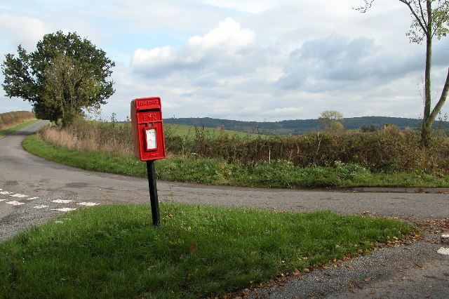 Post Box on an island at a road junction