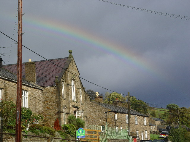 Rainbow over old Wesleyan Chapel (disused)
